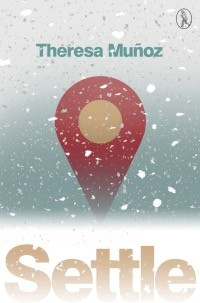 An unusual cover. The first thing you see is that it's snowing right over the cover, white blobs. At the bottom in huge lower case letters is the title SETTLE. at the top the author's name much much smaller in pale blue lower case. In the middle there is an image of a yellow circle inside a red shape. The shape is like dumb quote shape -- I don't know how else to describe it and I don't know what it is. The bottom quarter, behind the title (which is pale orange, is a strip of white that blurs into a much bluer section that then, in turns shades back towards a whitish gray at the top of the page, so that the blue of the author's name is the blue of the middle of the page. There is a tiny logo top right of a vagabond in an oven, the logo of the imprint.