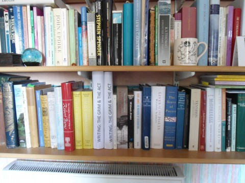 Photograph of two shelves of my bookcase, each packed messily with fat books. Two books on the bottom are taller than there rest, and white. Their titles read WRITING: THE GRIM & THE ACT.