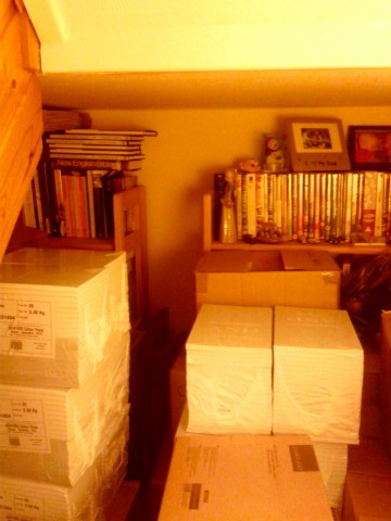 A rather orangey photograph of boxes piled up, and sealed packs of books. You can see something to the left that could be the edge of stairway, though really it's just a mess!