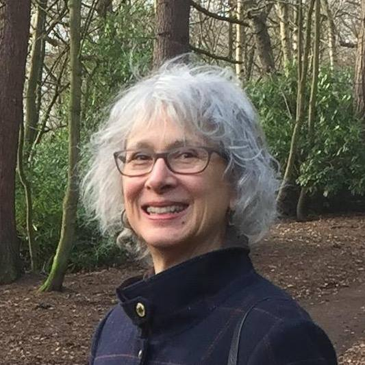 Full colour head and shoulders pic of the author in a wood, high necked jacket, big smile, glasses, blonde/grey hair just below the ears. She looks happy and exhilarated.